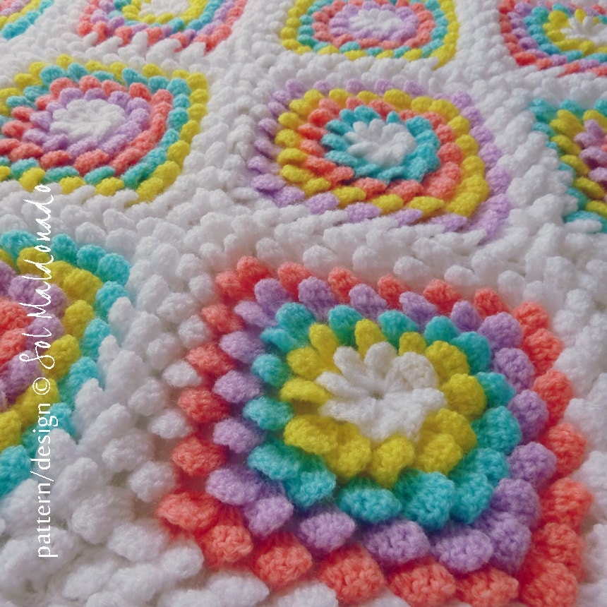 Different Crochet Patterns For Baby Blankets : Baby Blanket Floral crochet pattern Yummy Flower granny