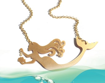 Mermaid necklace, statement necklace, gold acrylic pendant, Graduation gift for her, Birthday gift for women and teen girls