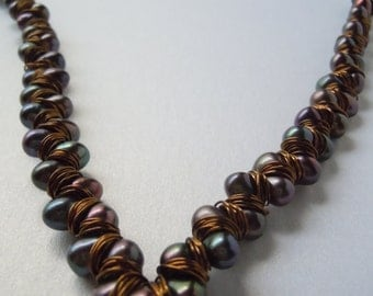 Intricate Exclusive OOAK Handmade Handwoven Wire Pearl Statement V Necklace