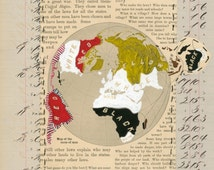 Page 59: September 8, 1884 to January 30, 2014 original mixed media collage antique page red, yellow, brown, beige, tan, grey, white, black