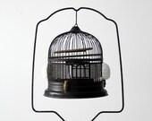 antique bird cage with stand, black birdcage
