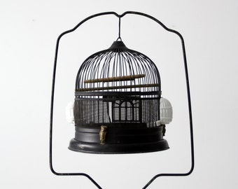 antique bird cage with stand, black birdcage, decorative Hendryx style cage
