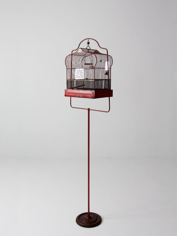 antique bird cage with stand red crown birdcage decorative. Black Bedroom Furniture Sets. Home Design Ideas