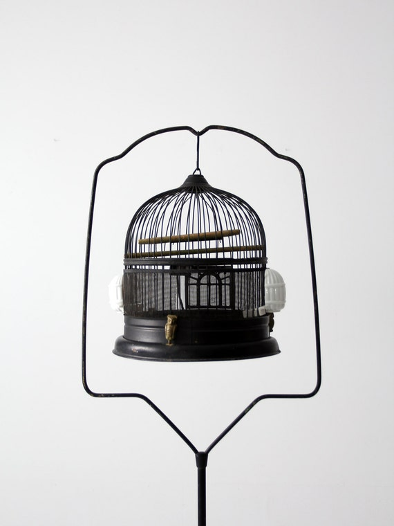 antique bird cage with stand black birdcage decorative. Black Bedroom Furniture Sets. Home Design Ideas
