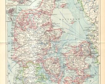 1903 Original Antique Map of Denmark