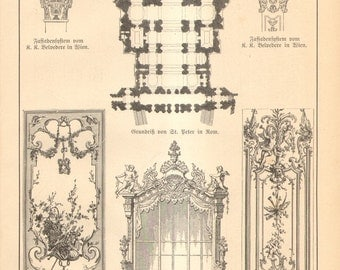 1888 Original Antique Engraving on Architecture and Ornaments