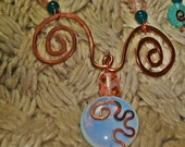 Copperwork Necklace Wrapped Opalite Disc with Salmon Accents and Amazonite