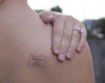Oregon Wedding Temporary Tattoos, Custom Oregon Wedding Favor, Personalized Tattoo, Wedding Tattoos, Reception Favor, Wedding Favors