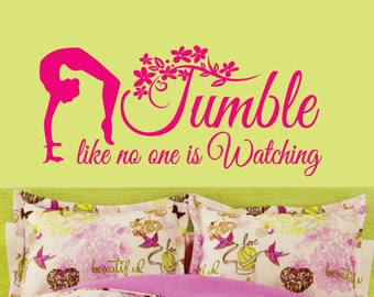 TUMBLE Gymnastics GIRLS Back Flip Custom Vinyl Wall Decals Art Stickers Quote Saying Nursery Kids Girls