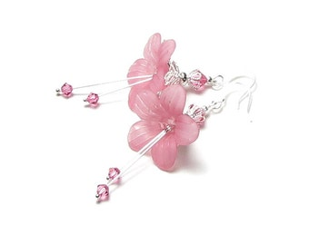 Pink Fantasy Flower Swarovski Crystal Silver Earrings, Spring Flower Earrings, Exotic Lily Jewelry, Mother's Day Gift, Long Wedding Earrings