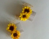 Sunflower bridesmaids Hairpiece mini comb flower girl headpiece dried babys breath Woodland barn weddings Bridal party Accessories