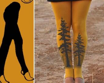 TREE Mustard Tights-Ballet tights- dancing tights-yoga tights Footless and full length.