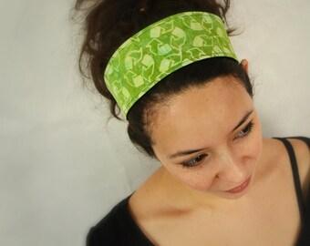 Reversible Fabric Headband / green recycle symbol / batik  and deep blue denim