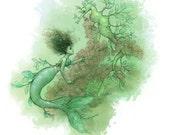Leafy Seadragon Mermaid, Fantasy Art Giclee Print 5 x 7