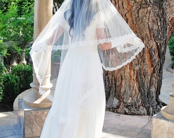 Waltz Length Drop Style Wedding Veil with Chantilly Lace and Blusher -  Butterfly Veil - Mantilla Blusher Veil - Cordoba