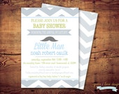 Printable Mustache Little Man baby shower (digital file) DIY Printing at home or your choice of printer