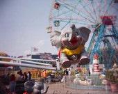 Holga Photography, Coney Island, Elephant Ride, Carnival Art, Brooklyn New York, Wonder Wheel, Photo Print
