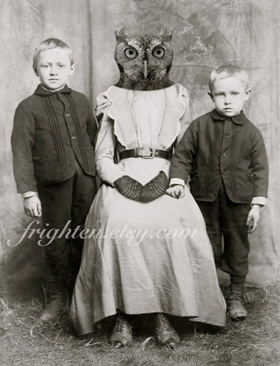 Owl Art Print, Mother's Day Art, Mother and Sons, Anthropomorphic, Animal in Clothes, Black and White, Unusual Wall Art
