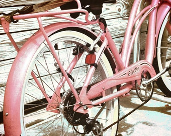 Retro Bicycle Photograph Pink Vintage Bike Print The Electra Bicycle Photograph Retro Bike Art 8x8