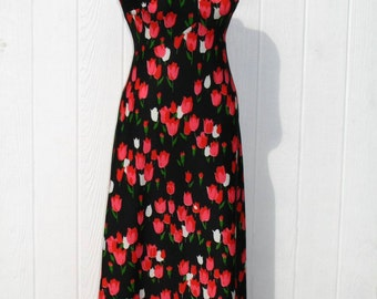Vintage 70s Maxi Dress * Tulip Dress * Black Dress * 1970s Dress * Sleeveless Dress * Pink Dress * Emilio Borghese  * Empire Waist Dress