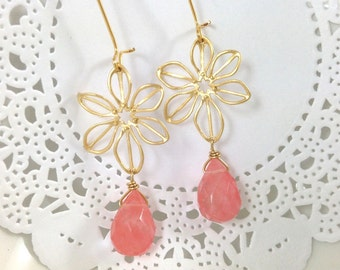 Coral Peach Earrings - Gold Flower Blush Pink Peachy Salmon Teardrop Dangle Earrings Bridesmaids Christmas Gift Under 25