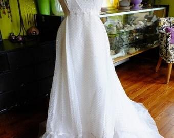 Polka dot organza wedding dress 1970s empire woodstock hippie fairie boho chic wedding gown