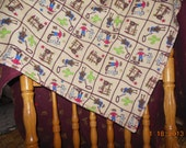 Flannel Receiving Blanket with Cowboys and Cacti