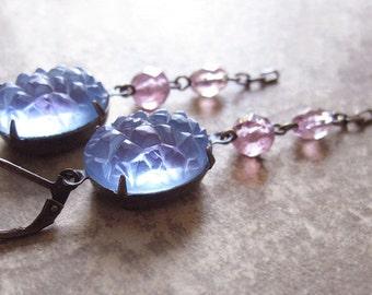 Violet Sugar Jewel Earrings / Vintage Rhinestone Assemblage Earrings / Repurposed Jewelry / The Color of Twilight