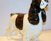 Larger Spaniel Dog Figurine Statue Statuette Black & White Glass Eyes Ceramic.
