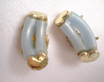 1950s Baby Blue Thermoset Lucite Earrings