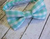 Tiffany Blue & White Gingham Boys Bow Tie