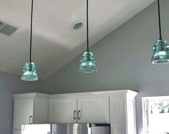 Custom Light Blue Industrial Hanging Light Pendant Blue Hanging Light Fixture Blue Whitall Tatum Insulator Light Industrial lighting pendant