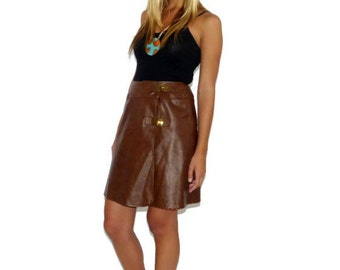 Vintage 70s Vinyl Brown Mod Go Go Hippie Wrap Skirt, Short Vinyl Skirt, Size Extra Small - Small, XS S