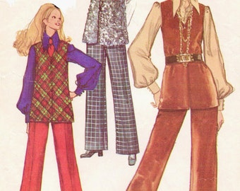 1960s  Womens Mod Vest and Bell Bottom Pants Simplicity Sewing Pattern 8557 Size 18 Bust 40 Vintage 1960s Sewing Patterns