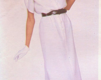 1970s Givenchy Womens Pullover Dress and Belt Size Vogue Paris Original Sewing Pattern 2165 12 Bust 34 Day or Evening Dress
