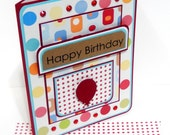 Happy Birthday Card with Matching Embellished Envelope- Preppy