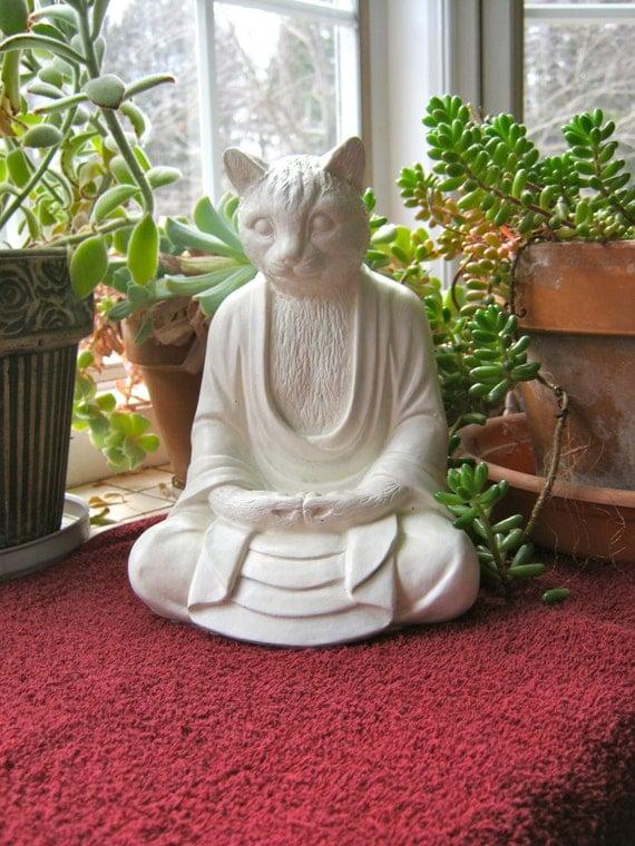 Statue de Bouddha chat chat méditation Figure de Bouddha