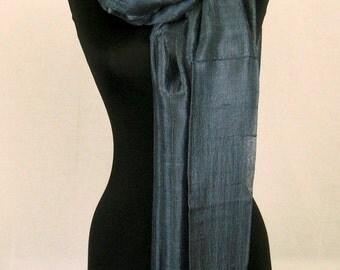 """100 % Thai Raw Pure Silk Scarf Shawl Wrap  24""""x62"""" Large Handmade Gunmetal Grey H20"""