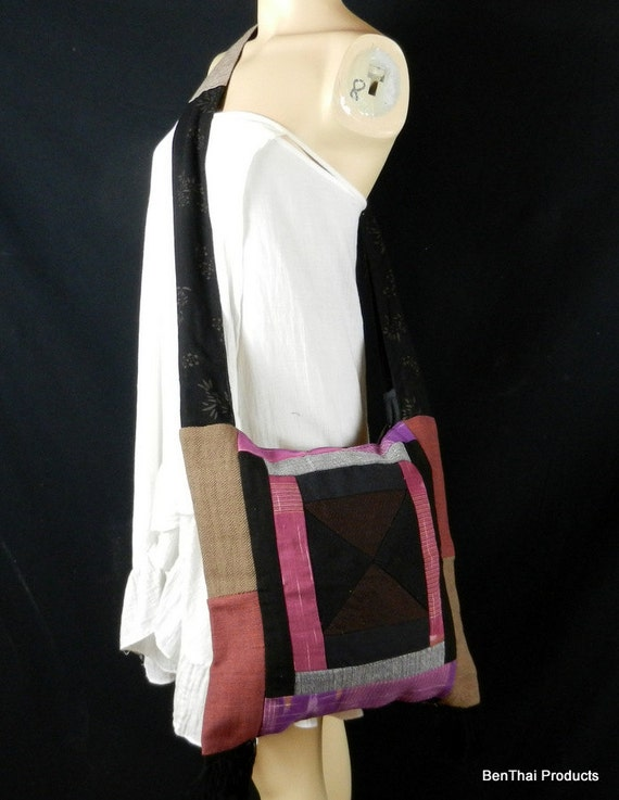 Hand Woven Cotton Bag Purse Hobo Hippie Sling Crossbody Messenger Patchwork Lined Multicolored PWS19