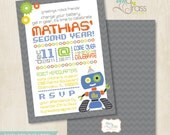Custom Birthday Party Invitation by BluGrass Designs - Robot
