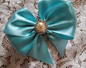 Robin Egg Blue Satin Hair Bow with Rhinestone Center, Aqua Blue Flower Girl Hair Bow, Pageant Hair Bow