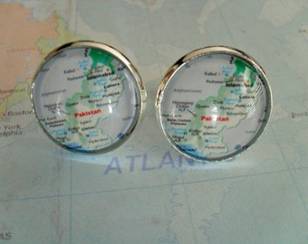 PAKISTAN MAP Silver Cufflinks / Pakistan Cuff Links /  Map jewelry / groomsmen gift / Unique Gift for him / Gift boxed
