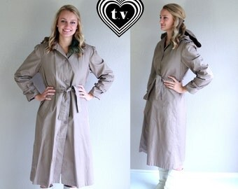 vtg 80s iced mocha HOODED belted TRENCH COAT jacket Large boho fitted outerwear puff sleeve