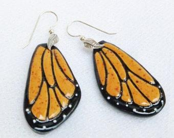 Porcelain Chrysalis Earrings Monarch Butterfly Earrings