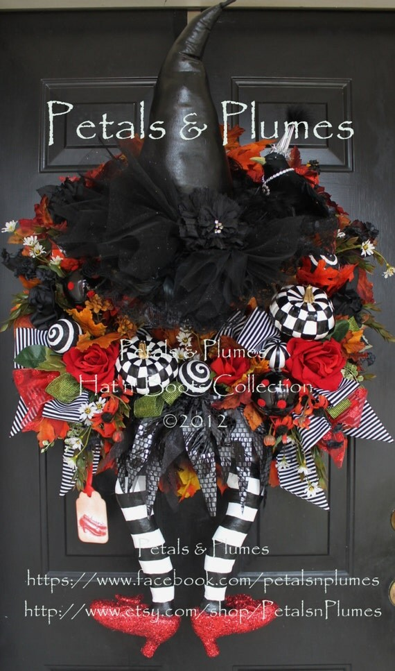 "PRE-ORDER for ""2017""Delivery-Halloween Witch Wreath-""Wicked Witch w/ Ruby Red Shoes"" Petals & Plumes ORIGINAL Design(See Production time)"