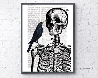 Summer Sale Skeleton and crow Print on Vintage Book page  SKA071