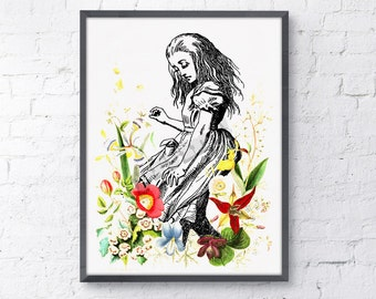 Summer Sale Alice in wonderland wall decor - Alice dancing with wild flowers, nursery art.poster print giclee print art ALW001WA4