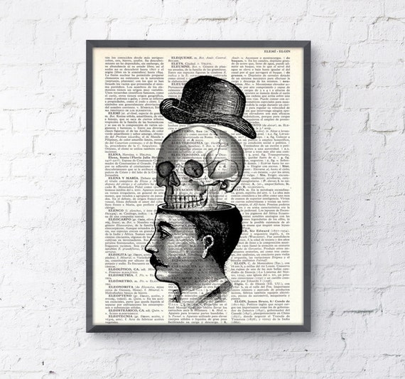 Spring Sale Wall art Victorian man and skull with hat collage print- You blow my head off collage book print, wall decor BPSK013