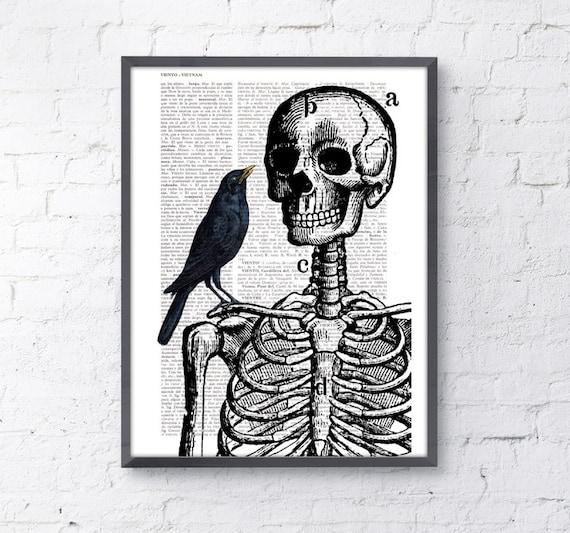 Christmas Sale Skeleton and crow Print on Vintage Book page  BPSK071