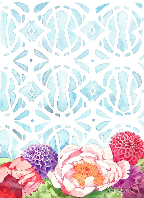 Flowers and Blue Pattern Watercolor Print of Painting